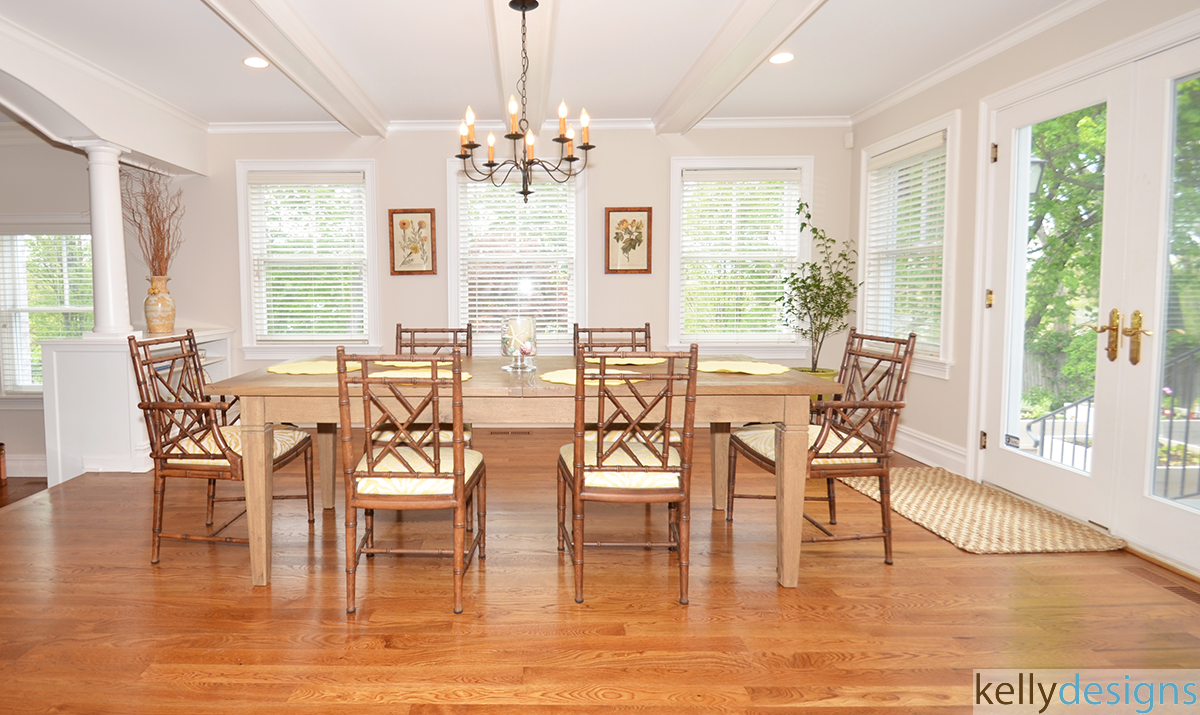 Dining Room With Hardwood Floor By Kellydesigns