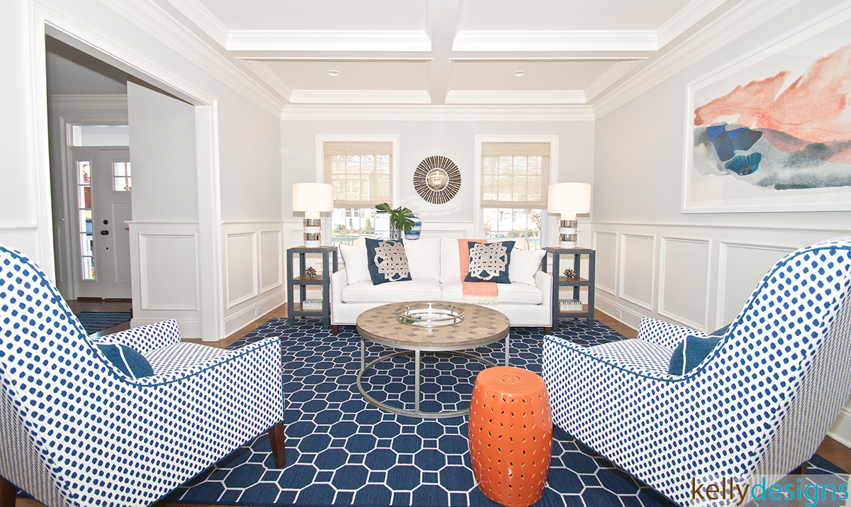 Blue And White Living Room - Interior Design by kellydesigns