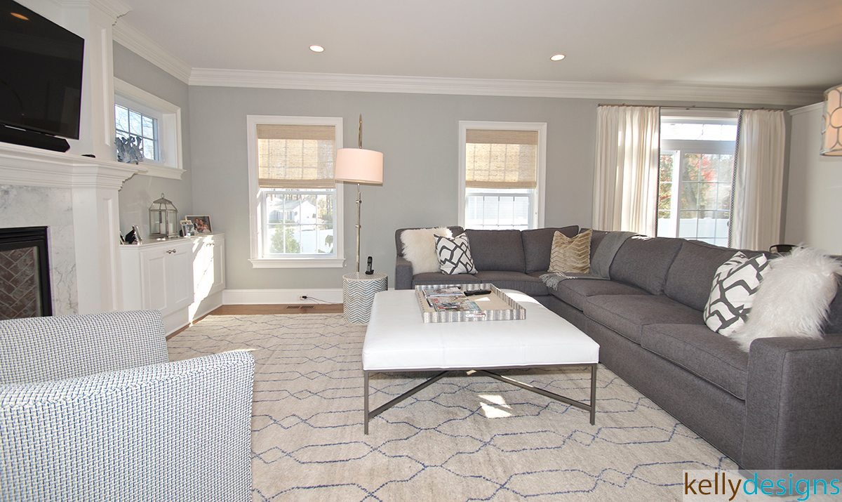 Gray And White Family Room - Interior Design by kellydesigns