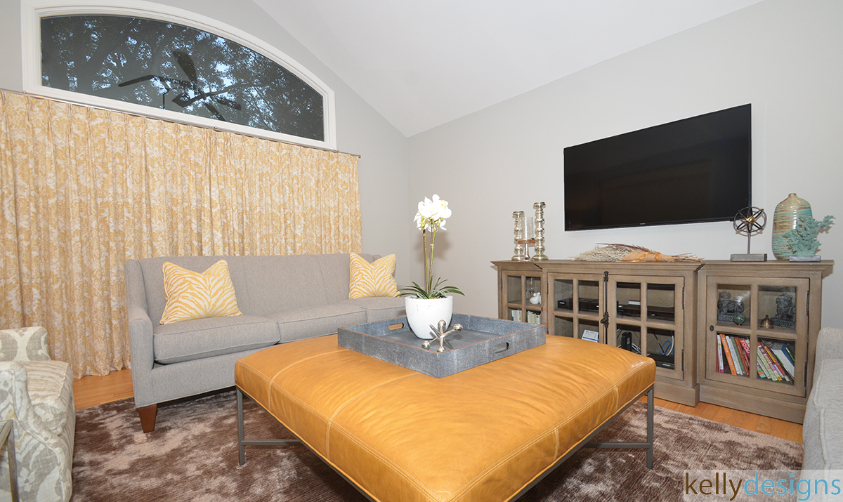 Gray And Yellow Family Room - Interior Design by kellydesigns