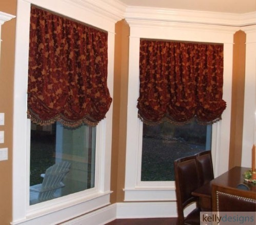 Balloon Shades In A Rich Red And Gold Chenille Help To Dress These Massive Windows In The Kitchen Dining Area by kellydesigns