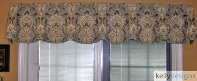 Blue And Beige Large Scale Pattern In Sheffield Valance Board Mounted by kellydesigns