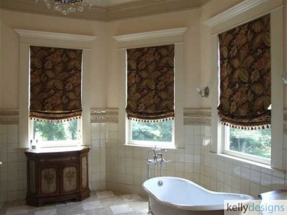 Soft Roman Shades In A Rich Brown Help Add Some Privacy And Warmth To This Large Scaled Master Bathroom by kellydesigns