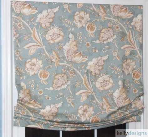 Soft Roman Shade In A Blue Jacobean Paisley Print A Custom Window Treatment By kellydesigns