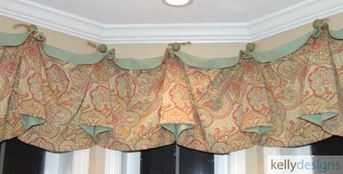 Swag Loop Valance In Mineral And Tangerine Paisley Print A Custom Window Treatment By Kellydesigns