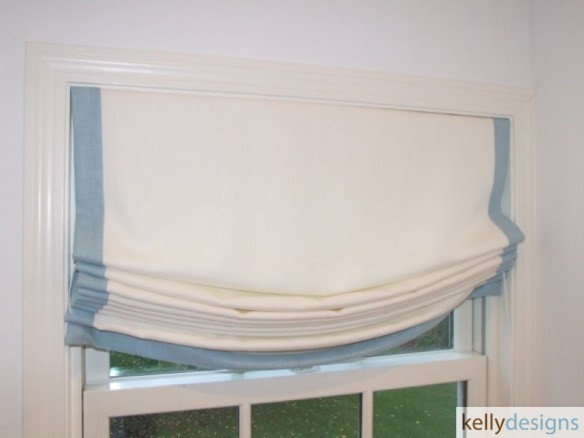 Soft Roman Shades With Cntrast Border by kellydesigns